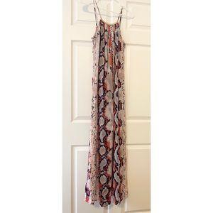 Bloomingdales Aqua Snake Print Halter Maxi Dress